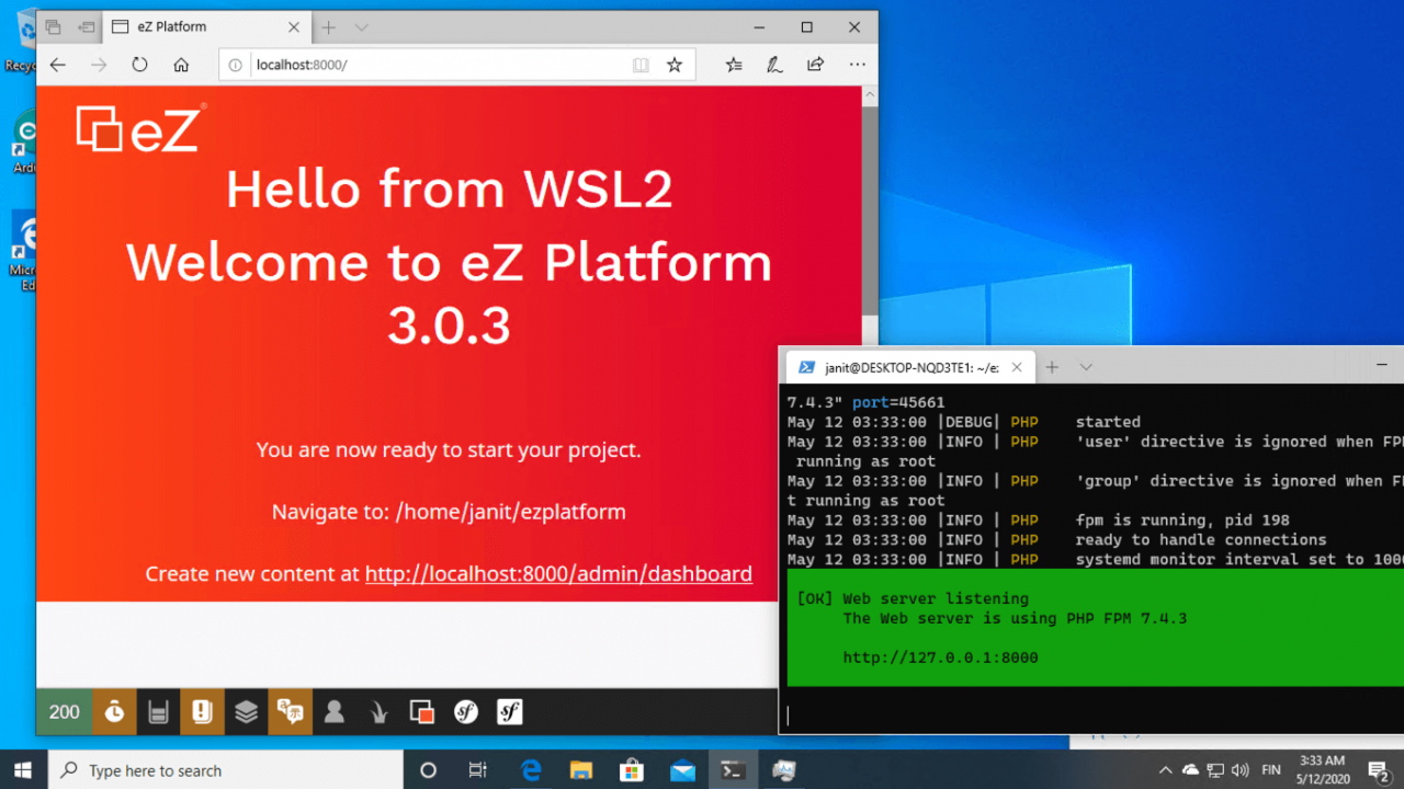Setting up a PHP development environment for Symfony with Windows and WSL2